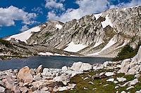 South Gap Lake below Medicine Bow Peak of the Snowy Range.  Found along the Gap Lakes Trail, Wyoming.