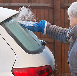 © Licensed to London News Pictures. 31/01/2019. Orpington, UK. A lady cleaning the frozen ice from her car in South East London, Coldest night of the year so far as the winter freeze takes hold.<br />   Photo credit: Grant Falvey/LNP
