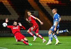 Lewis Alessandra of Rochdale fires a shot at goal  - Mandatory byline: Matt McNulty/JMP - 07966 386802 - 06/10/2015 - FOOTBALL - Spotland Stadium - Rochdale, England - Rochdale v Chesterfield - Johnstones Paint Trophy