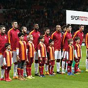 Galatasaray's players during their Turkish superleague soccer derby match Galatasaray between Trabzonspor at the AliSamiYen spor kompleksi TT Arena in Istanbul Turkey on Saturday, 22 November 2014. Photo by Aykut AKICI/TURKPIX