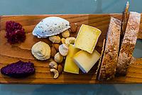 "Local cheese platter, last of a six course ""Taste of Summer"" lunch menu, restaurant at Haute Cabriere Vineyard Estate, Franschhoek Pass, Franschhoek, Cape Winelands, South Africa."