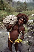Local tribesman wearing a penis gourd, called a horum, and a hat of bird feathers carries a sack of vegetables and handful of bananas on a trail near Kurima, in the central highlands of the South Baliem Valley, Irian Jaya, Indonesia. His body is rubbed with pig grease to help protect him from chilly weather. Since the making of this photograph, Irian Jaya was renamed Papua.