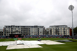 A general view of rain covers on the field during the ICC Cricket World Cup group stage match at Bristol County Ground.