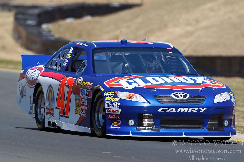 June 24, 2011; Sonoma, CA, USA;  NASCAR Sprint Cup Series driver Bobby Labonte (47) approaches turn 8 during practice for the Toyota/Save Mart 350 at Infineon Raceway.