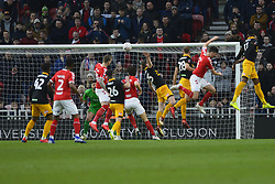 January 26, 2019 - Middlesbrough, North Yorkshire, United Kingdom - Action in the Newport County goalmouth during the FA Cup match between Middlesbrough and Newport County at the Riverside Stadium, Middlesbrough on Saturday 26th January 2019. (Credit Image: © Mi News/NurPhoto via ZUMA Press)