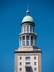 View of famous landmark tower at Frankfurter Tor on Karl Marx Allee in former east Berlin in Germany