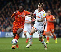 Blackpool's Harry Pritchard battles with Luton Town's Pelly Ruddock<br /> <br /> Photographer David Shipman/CameraSport<br /> <br /> The EFL Sky Bet League One - Luton Town v Blackpool - Saturday 6th April 2019 - Kenilworth Road - Luton<br /> <br /> World Copyright © 2019 CameraSport. All rights reserved. 43 Linden Ave. Countesthorpe. Leicester. England. LE8 5PG - Tel: +44 (0) 116 277 4147 - admin@camerasport.com - www.camerasport.com