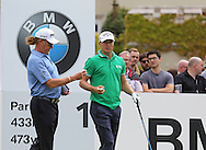 Miguel Angel JIMÉNEZ and Alex NOREN on the 1st hole during the 4th day of the BMW PGA Championship at Wentworth, Virginia Water, United Kingdom on 24 May 2015. Photo by Ellie  Hoad.
