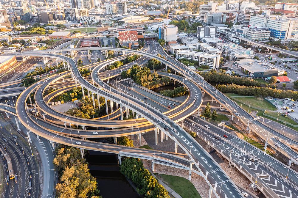 Aerial view of the Inner City Bypass & Airport Link highway interchange, Bowen Hills, Brisbane, Queensland, Australia