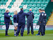 Sale Sharks staff talk with referee Matthew Carley and his team before a Gallagher Premiership Round 13 Rugby Union match, Saturday, Mar. 13, 2021, in Northampton, United Kingdom. (Steve Flynn/Image of Sport)