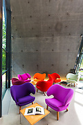 Minimalist Pelican chairs by Danish designer Finn Juhl in building by Zaha Hadid, Ordrupgaard Art Design Museum Denmark