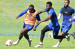 Cape Town-180823- Cape Town City players Nana Bempah challenged by at training Kouassi Kouadja preparing for their up comingMTN 8 semi-final against Sundowns at Cape Town Stadum.Photographer :Phando Jikelo/African News Agency/ANA
