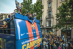 April 30, 2018 - Barcelona, Catalonia, Spain - FC Barcelona forward LUIS SUAREZ greets the fans during the FC Barcelona's open top bus victory parade after winning the LaLiga with their eighth double in the club history. (Credit Image: © Matthias Oesterle via ZUMA Wire)