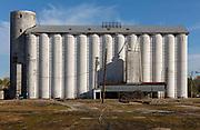 Rice silos on farm on 28th February 2020 in Eunice, Louisiana, United States.