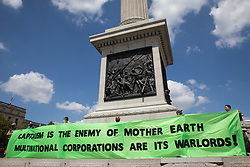 London, UK. 5th June, 2021. Environmental activists from Earth Strike UK protest in Trafalgar Square against Anglo-Australian multinational metals and mining corporation Rio Tinto. Rio Tinto produces aluminium, iron ore, copper, uranium, coal, titanium and diamonds and has for many years been linked by activists to a series of adverse environmental and human rights impacts around the world.