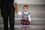 A young patient leaves Ondorhan hospital's outpatient eye clinic with her new glasses in Ondorhan, Mongolia, about five hours outside of the capitol of Ulaanbaatar, the during Project HOPE's Pacific Angel Mongolia mission.