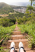 Looking down the steep trail on Koko Crater on Oahu, Hawaii.