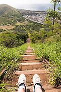 Looking down the steep trail on Koko Crater on Oahu, Hawaii.