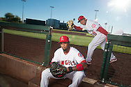 Carlos Perez jokes around behind new catcher Martin Maldonado during the Angels' Photo Day at Spring Training in Tempe, AZ on Tuesday, February 21, 2017. (Photo by Kevin Sullivan, Orange County Register/SCNG)