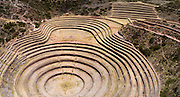 High angle view of the Moray Terraces, an area where Inca cultures experimented with agriculture, near Cusco, Peru.