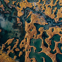 Yamal Peninsula, Siberia, Russia - Aerial shot of Tundra under threat from Climate Change