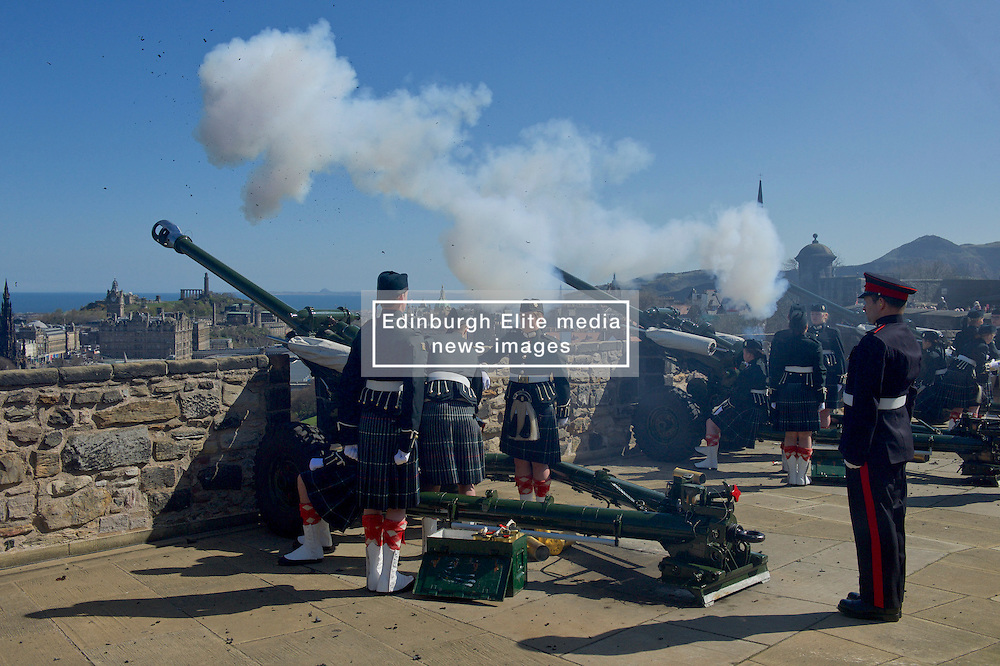 Officer Cadets from Glasgow and Strathclyde Universities<br /> Officer Training Corp (UOTC) carry out 21-gun royal salutes to mark Queen's 90th<br /> birthday. At Edinburgh Castle, <br /> (c) Brian Anderson | Edinburgh Elite media