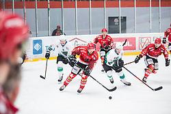 Miha BRUS vs Anej KUJAVEC during First league match between HDD Acroni Jesenice vs HK SZ Olimpia, on April 23, 2019 in Jesenice, Slovenia. Photo by Peter Podobnik / Sportida