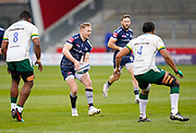 Sale Sharks centre Conor Doherty sets to pass during a Gallagher Premiership Round 14 Rugby Union match, Sunday, Mar 21, 2021, in Eccles, United Kingdom. (Steve Flynn/Image of Sport)