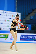 Staykova Sara during qualifying clubs at the Pesaro World Cup 02 April 2016. Sara is an Bulgarian individual rhythmic gymnast, she was born in 13 November 1993 Plovdiv, Bulgaria.She retired from rhythmic gymnastics in May 2016.