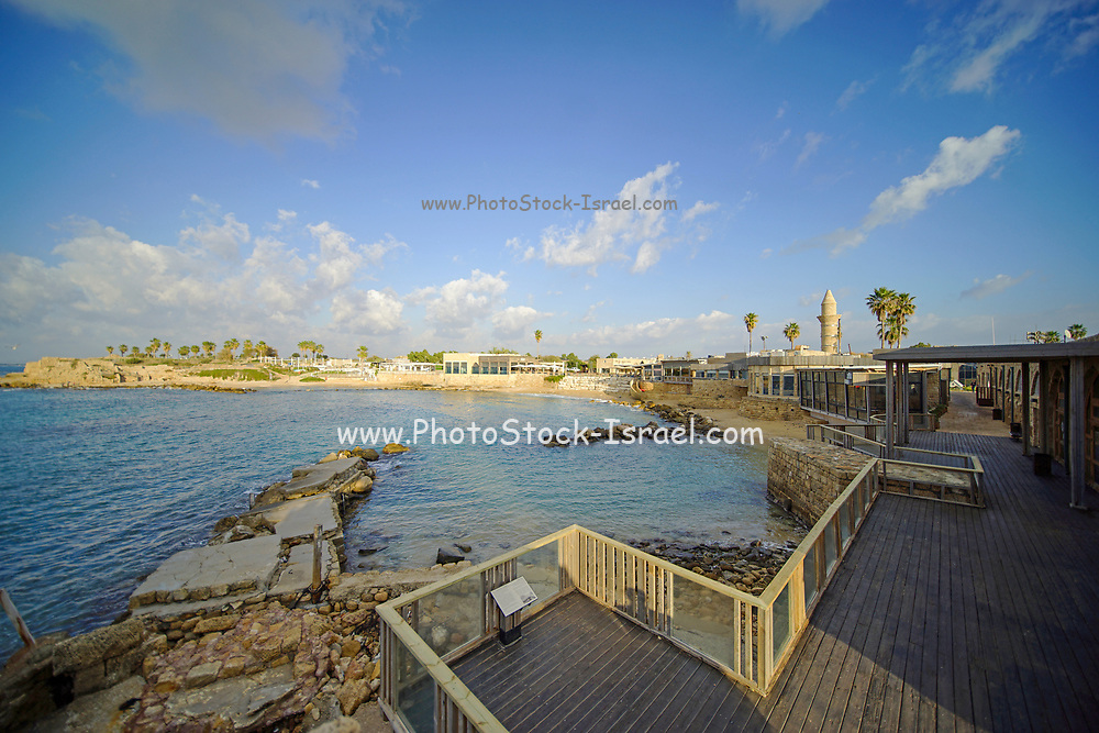 Israel, Caesarea, The old harbour now a resort beach Originally built by Herod the Great in the first century CE