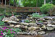 65021-028.01 Shade garden with pond, waterfall, bridge, impatiens, hostas, ferns, Japanese maples, St. Louis  MO