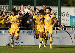 Sutton United's Will Randall (right) celebrates after scoring his side third goal of the game during the Sky Bet League Two match at Borough Sports Ground, Sutton. Picture date: Saturday October 9, 2021.