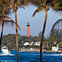 Historic lighthouse marking the Jupiter Inlet located at the entrance to the Loxahatchee River.