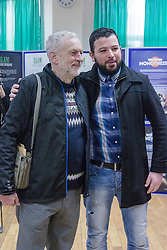 """Finsbury Park Mosque, London, February 7th 2016. Labour Leader and local MP Jeremy Corbyn  poses for a picture at Finsbury Park Mosque during the Visit My Mosque initiative by the Muslim Council of Britain to show non-Muslims """"how Muslims connect to God, connect to communities and to neighbours around them"""".<br /> . ///FOR LICENCING CONTACT: paul@pauldaveycreative.co.uk TEL:+44 (0) 7966 016 296 or +44 (0) 20 8969 6875. ©2015 Paul R Davey. All rights reserved."""