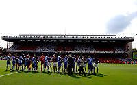 Photo: Daniel Hambury.<br />Arsenal v Wigan Athletic. The Barclays Premiership. 07/05/2006.<br />Arsenal's and Wigan's players shake hands before the game.