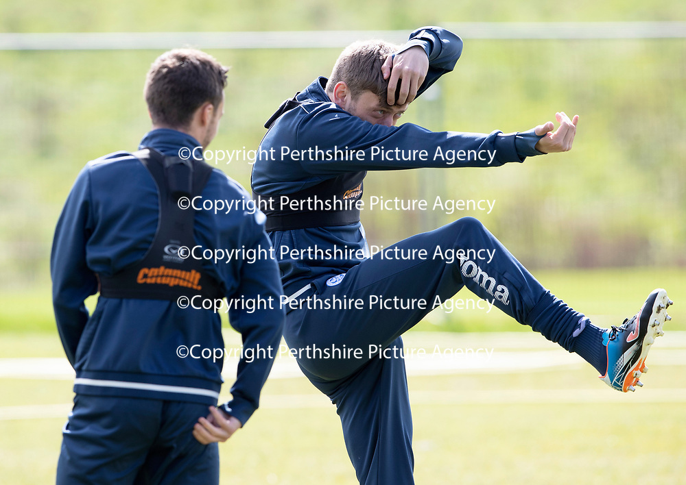 St Johnstone Training…04.05.18<br />Murray Davidson messing around during training this morning at McDiarmid Park with Stefan Scougall<br />Picture by Graeme Hart.<br />Copyright Perthshire Picture Agency<br />Tel: 01738 623350  Mobile: 07990 594431