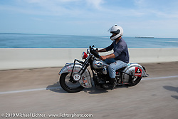 Mark Hill riding through the Florida Keys on his 1940 Indian 4-cylinder in the Cross Country Chase motorcycle endurance run from Sault Sainte Marie, MI to Key West, FL. (for vintage bikes from 1930-1948). Stage-10 covered 110 miles from Miami to the finish in Key West, FL USA. Sunday, September 15, 2019. Photography ©2019 Michael Lichter.