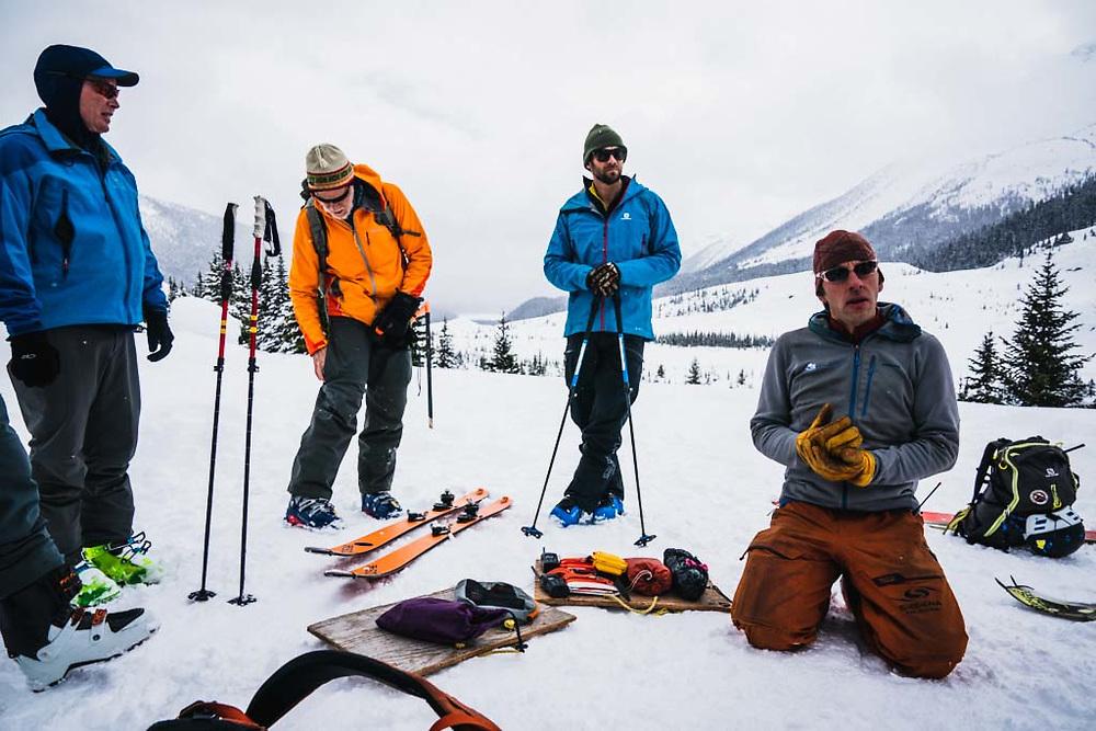 Sean Fraser and Simon Thomson do the safety talk at the Burnie Glacier Chalet, Howson Range, British Columbia.