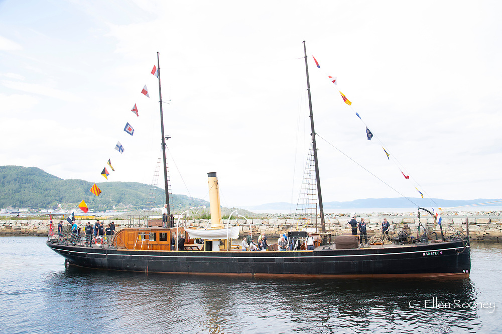 An old steam powered wooden boat in the harbour in Trondheim, Trondelag, Norway, Europe