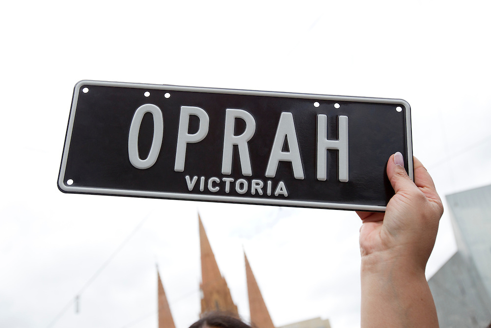 A genuine, legal Oprah car registration plate held up at a public event at Federation Square on December 10, 2010 in Melbourne, Australia. Oprah Winfrey is in Australia with 302 audience members from the US, Canada and Jamaica and will tape episodes of the 25th and final season of 'The Oprah Winfrey Show' from the Sydney Opera house next week. The shows will air in the US and Australia in January 2011.