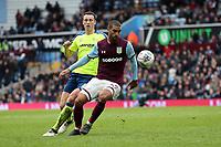 Aston Villa v Derby County - Sky Bet Championship<br /> BIRMINGHAM, ENGLAND - APRIL 28 :  Craig Forsyth, of Derby County closes down Aston Villa's Lewis Grabban
