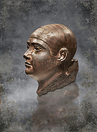 Sculptured Eyyptian  head of a man in Baslt. Fifth. Dynasty 2500 BC.  Altes Reich Egyptian Museum, Berlin .<br /> <br /> Visit our HISTORIC WALL ART PRINT COLLECTIONS for more photo prints https://funkystock.photoshelter.com/gallery-collection/Historic-Antiquities-Photo-Wall-Art-Prints-by-Photographer-Paul-E-Williams/C00002uapXzaCx7Y<br /> <br /> Visit our Museum ART & ANTIQUITIES COLLECTIONS to browse more photo at: https://funkystock.photoshelter.com/p/museum-antiquities