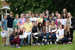 © Licensed to London News Pictures.22/08/2013. Solihull, West Midlands, UK. Solihull School achieved outstanding GSCE Level Results this year, up on previous years, with 77% of pupils gaining A grade or A Stars. Pictured,pupils celebrating their excellent results. Photo credit : Dave Warren/LNP