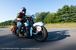 CCC event promoter Jason Sims riding his 1946 Harley-Davidson Model U Flathead in his Cross Country Chase motorcycle endurance run from Sault Sainte Marie, MI to Key West, FL (for vintage bikes from 1930-1948). Stage 4 saw a 315 mile ride from Urbana, IL to Bowling Green, KY USA. Monday, September 9, 2019. Photography ©2019 Michael Lichter.