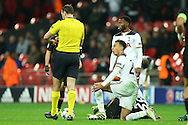 Dele Alli of Tottenham Hotspur slumps to his knees dejected as the Referee  blows the whistle for full time and Tottenham lose the match. UEFA Champions league match, group E, Tottenham Hotspur v Bayer Leverkusen at Wembley Stadium in London on Wednesday 2nd November 2016.<br /> pic by John Patrick Fletcher, Andrew Orchard sports photography.