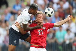 June 26, 2018 - Moscow, RUSSIA - France's PRESNEL KIMPEMBE and Denmark's ANDREAS CORNELIUS fight for the ball during the soccer game between France and Denmark, the third game in group C at the 2018 FIFA World Cup, in the Luzhniki stadium in Moscow, Russia. The two teams played to a scoreless draw. (Credit Image: © Bruno Fahy/Belga via ZUMA Press)