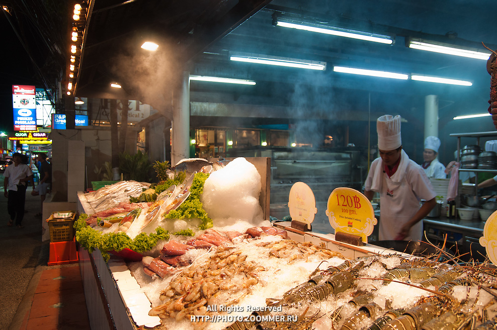 Seafood in open kitchen restaurant, Phuket, Thailand
