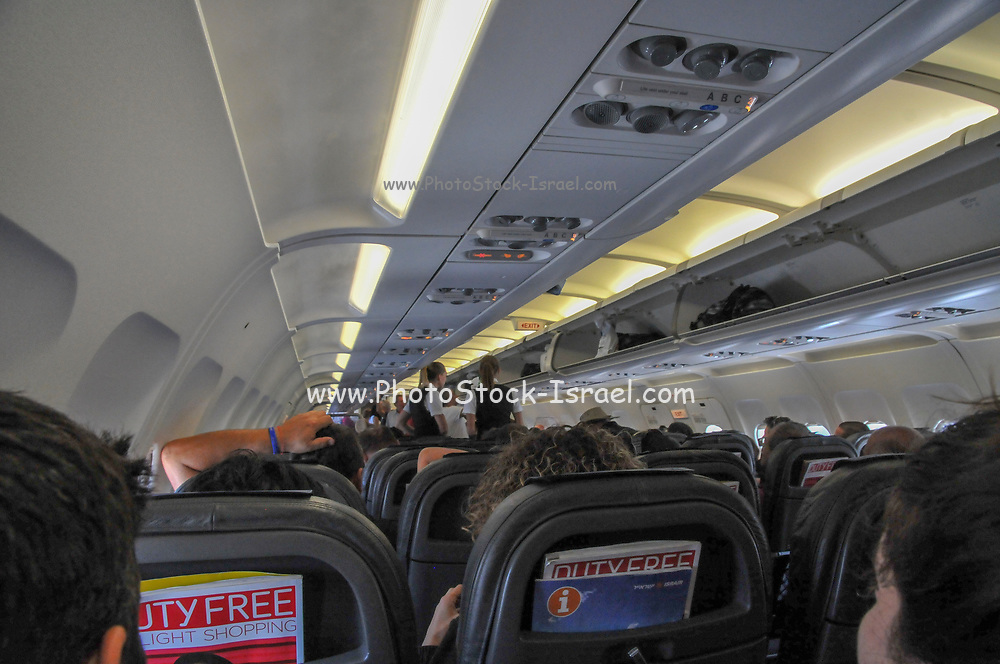 interior of the cabin in a Trade Air Airbus A320-200