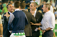 Fulltime disagreement between coaches Jose Luis Oltra (L) and Julio Velazquez (R) between Real Betis and Recreativo de Huelva day 10 of the spanish Adelante League 2014-2015 014-2015 played at the Benito Villamarin stadium of Seville. (PHOTO: CARLOS BOUZA / BOUZA PRESS / ALTER PHOTOS)
