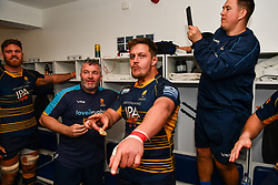 Nick Schonert of Worcester Warriors enjoying the post game song - Mandatory by-line: Craig Thomas/JMP - 13/04/2019 - RUGBY - Sixways Stadium - Worcester, England - Worcester Warriors v Sale Sharks - Gallagher Premiership Rugby